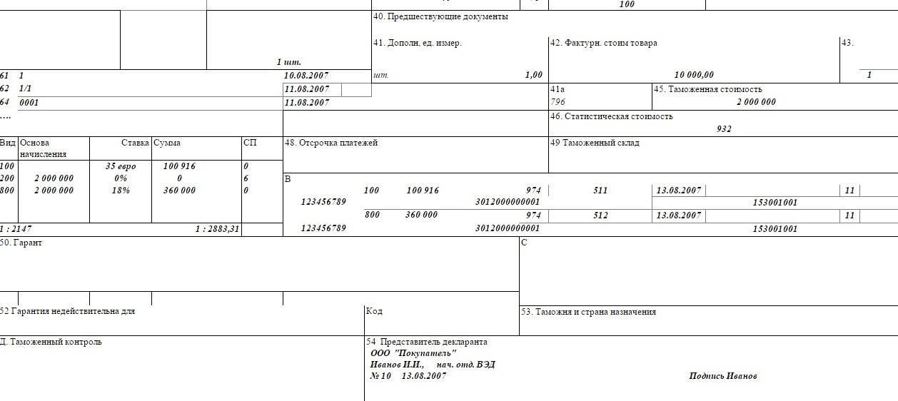 образец заполненной таможенной декларации на товары