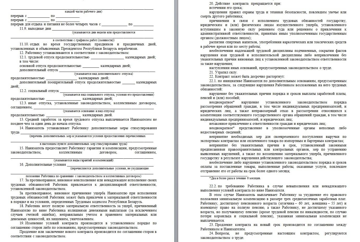 бланк трудового договора между работником и ип